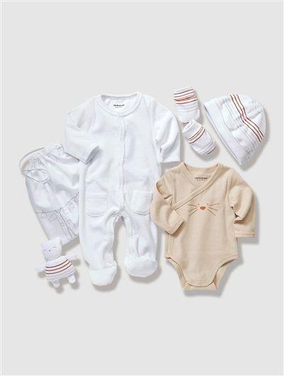 Canastilla primeras noches 5 prendas bebé recién nacido BLANCO CLARO LISO+NARANJA CLARO LISO