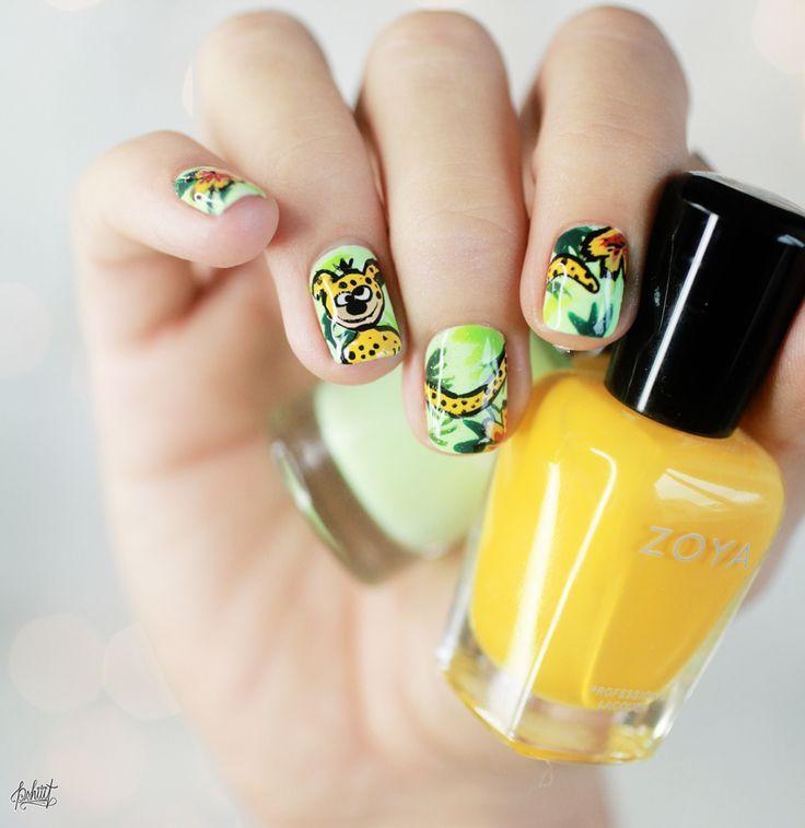 Il s'agit de l'art sur les ongles sous la forme du Marsupilami.