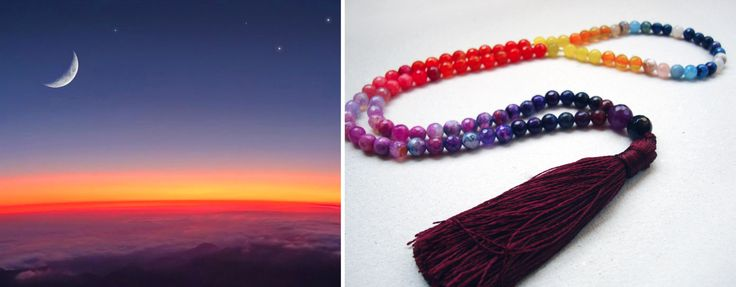 Sunset with a crescent moon with a few stars peeking out above the curvature of Earth over a cloud cover - Prayer Beads (سبحة) by Analogie