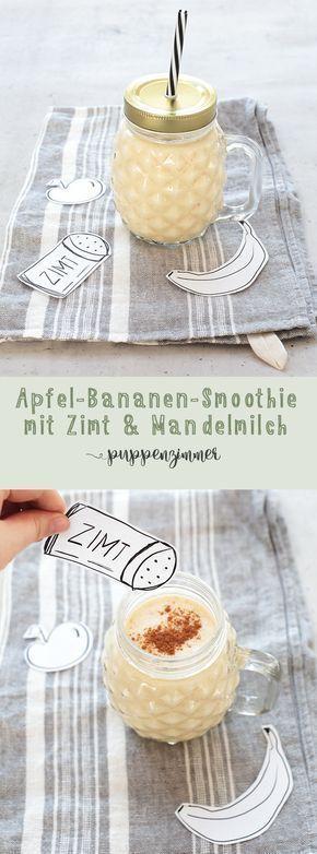 Apfel – Bananen – Smoothie mit Zimt – Mandelmilch Grundnahrungsmittel   – Basenrezepte
