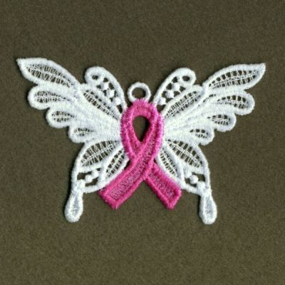 FSL Pink Ribbon Butterfly Machine Embroidery Design by embhome