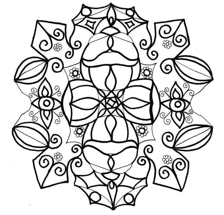 Раскраска Снежинка большие бесплатные шаблоны для печати