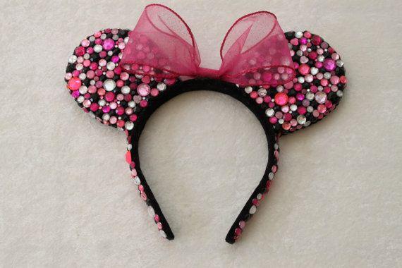 Pink, Black, & Clear Rhinestone Minnie Mouse Ears