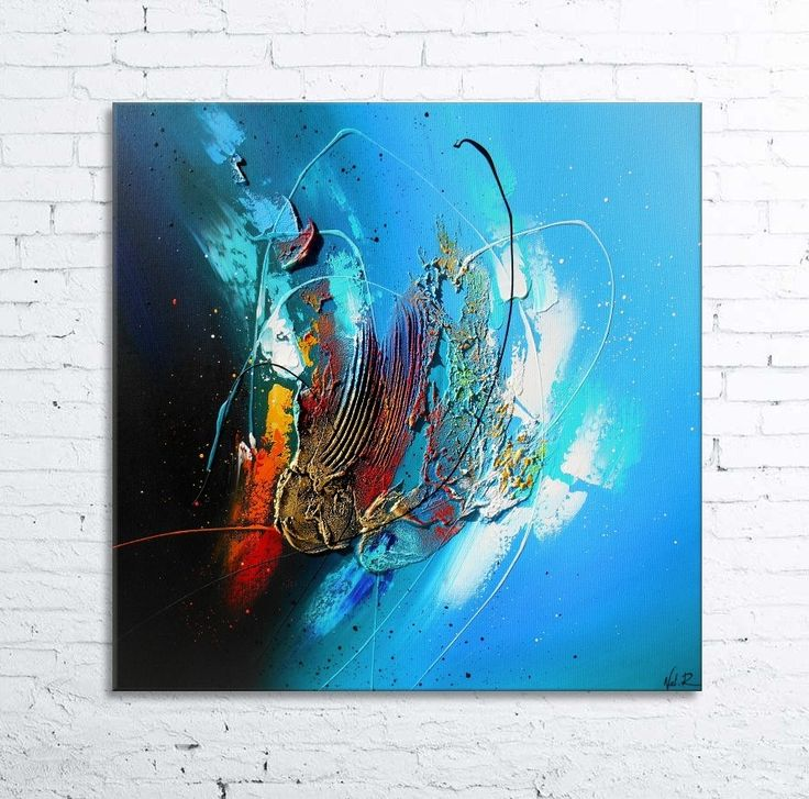 Iroise tableau abstrait moderne contemporain peinture - Tableau bleu turquoise ...