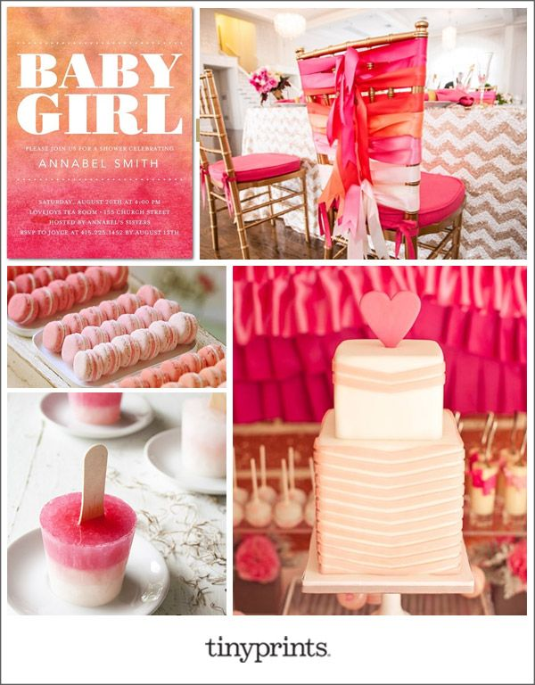 For instant chic, incorporate color coordinated elements throughout your baby shower, from the decor to the desserts. To complement the pink and coral ombré, we love the look of layered fabrics or pops of gold for a touch of glam.