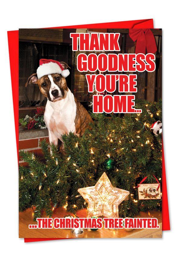 Christmas Tree Fainted Funny Dog Christmas Card Christmas Humor