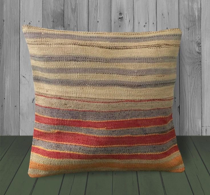 As a general rule, an odd number of pillows makes for the most natural, inviting arrangement: Gray Red Orange Sofa Pillows -16x16 -Striped Sham Cover ...