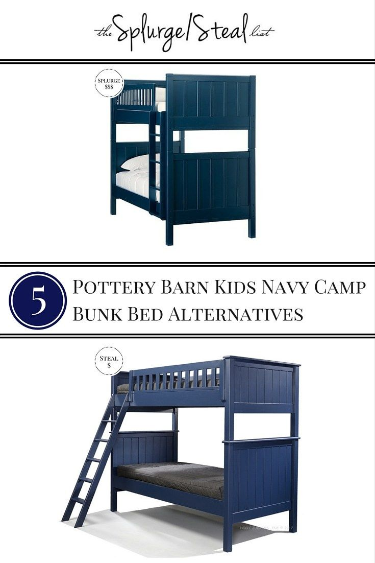Loft bed with desk pottery barn   Pottery Barn Kids Navy Camp Bunk Bed Alternatives  Creating a