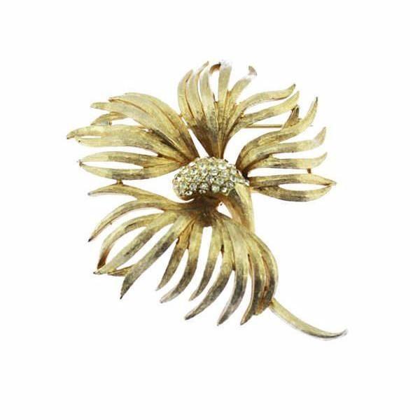 Coro Gold and Rhinestone Flower Brooch