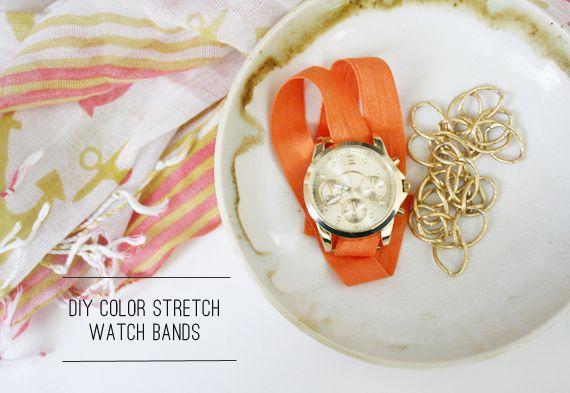 In Honor Of Design: DIY: Color Stretch Watchbands: Diy Stretch, Colors Stretch, Diy Watches, Watches Bands, Bands Diy, Diy Crafts Inspiration, Diy Colors, Colors Watches, Watches Diy