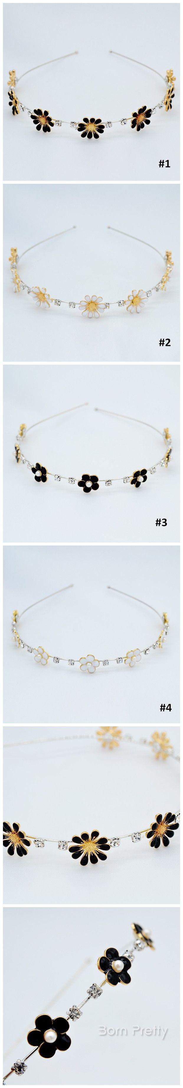 $2.84 1 Pc Black White Flowers Rhinestone Hair Band Delicate Flowers Head Band -4 Patterns - BornPrettyStore.com