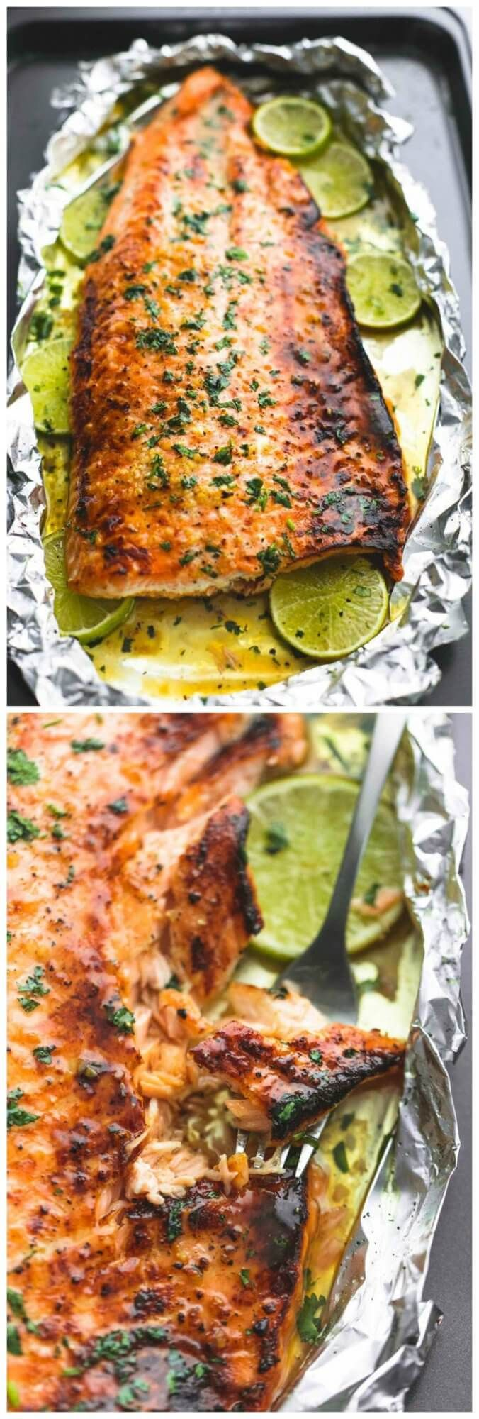 Baked Honey Cilantro Lime Salmon In Foil | Tasty Food Collection
