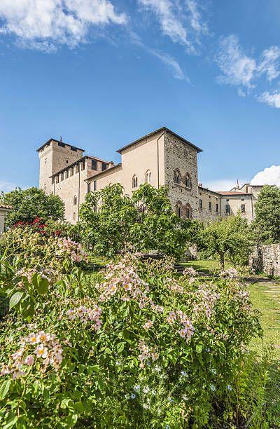 Castle garden inside Rocca di Angera at Lago Maggiore