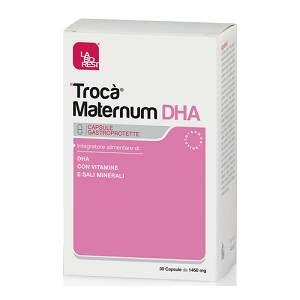 Integratore alimentare di acido docosaesaenoico (DHA), fondamentale per lo sviluppo del sistema nervoso centrale del feto, vitamine e minerali secondo i LARN durante la gravidanza.