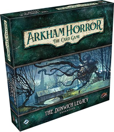 Game description from the publisher:  The Dunwich Legacy is a deluxe expansion for Arkham Horror: The Card Game.  Several months ago, three Miskatonic University professors armed themselves with secret knowledge, traveled to Dunwich, and brought an end to the strange and terrifying creature that had been terrorizing the secluded village. Their heroic efforts brought peace to the region—for a while—but also left the men scarred by the horrors they had witnessed. Now, one of...