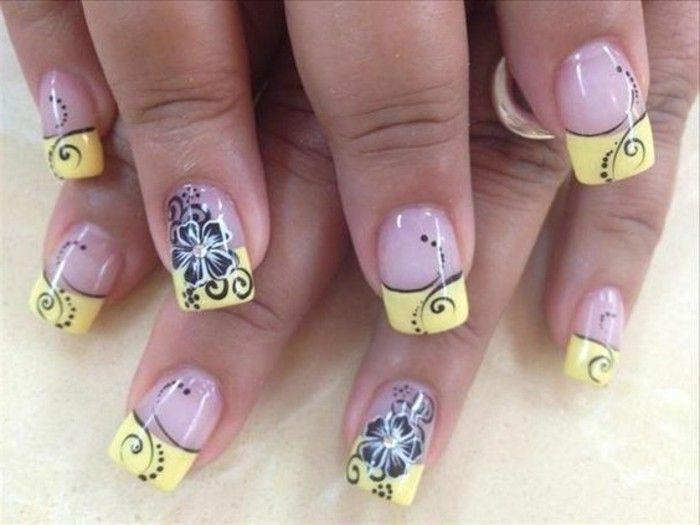 uñas-decoradas-diseño-frances-con-amarillo-y-flores