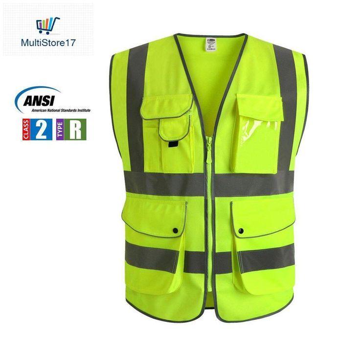 Traffic Police Safety Vest 9 Pockets Class 2 High Visibility Front Reflective S #JKNuozhou