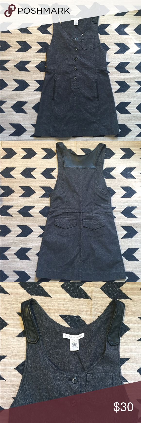 Charlotte Ronson grey overall Jean dress. Charlotte Ronson grey overall Jean dress.  Undo buttons to step into the dress.  Strap area is made of sheep leather.  Rest of the dress is Jean material (98% cotton and 2% spandex).  Size 0.  Purchased at sample sale. Charlotte Ronson Dresses Mini