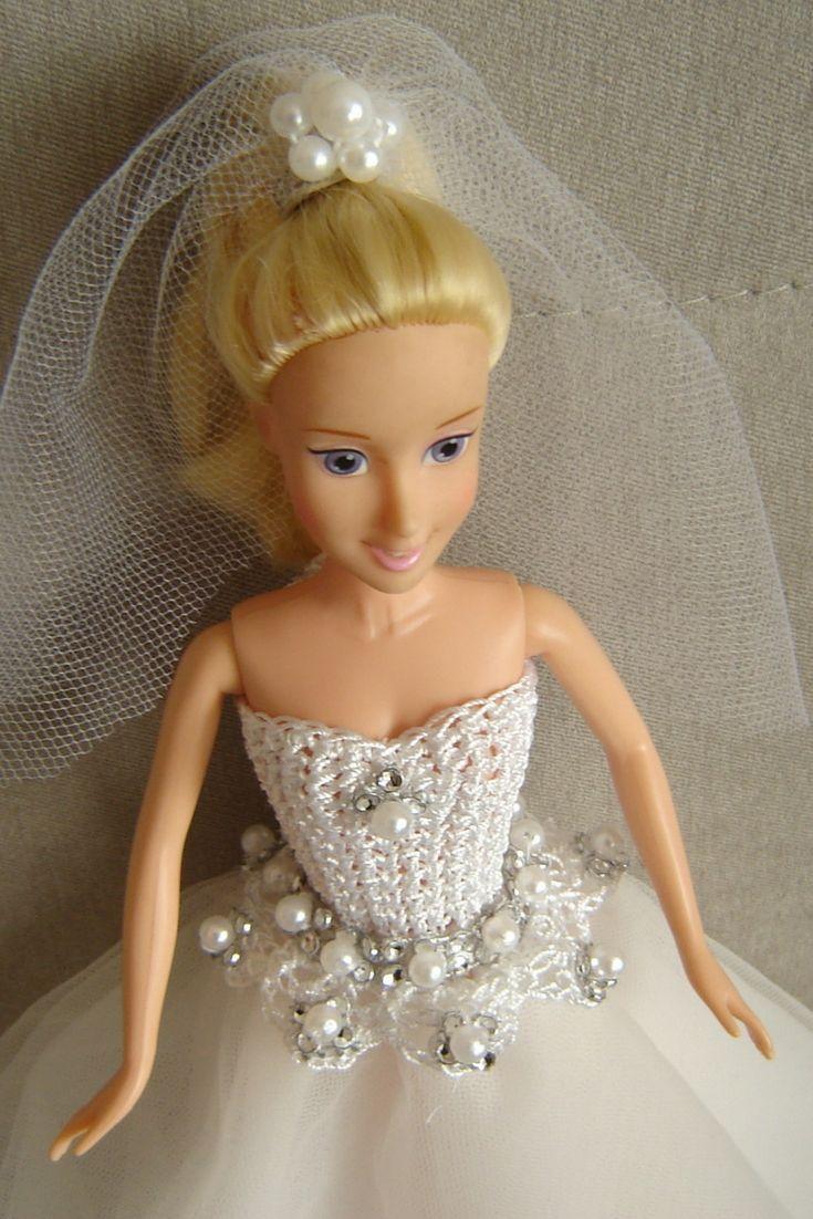 Suknia ślubna Dla Lalki Barbie Szydełkowa Góra Tiulowy Dół