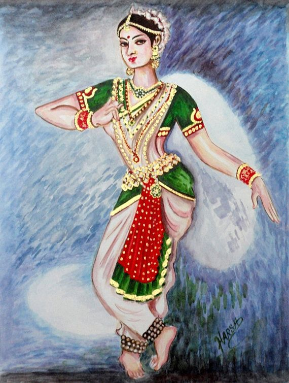 Reduced Price Limited Time Offer Was $150 Now it is $85 Dancer Painting Original Water Color Indian by sadashivarts, $85.00