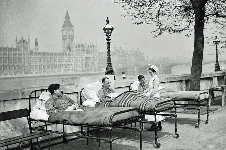 St. Thomas's Hospital, on the banks of the River Thames in London. Fresh air was one of the treatments for patients with Tuberculosis before the introduction of Penicillin and sandbags would be attached to the patient's chest whilst lying down so as to strengthen their lung capacity. Circa 1935