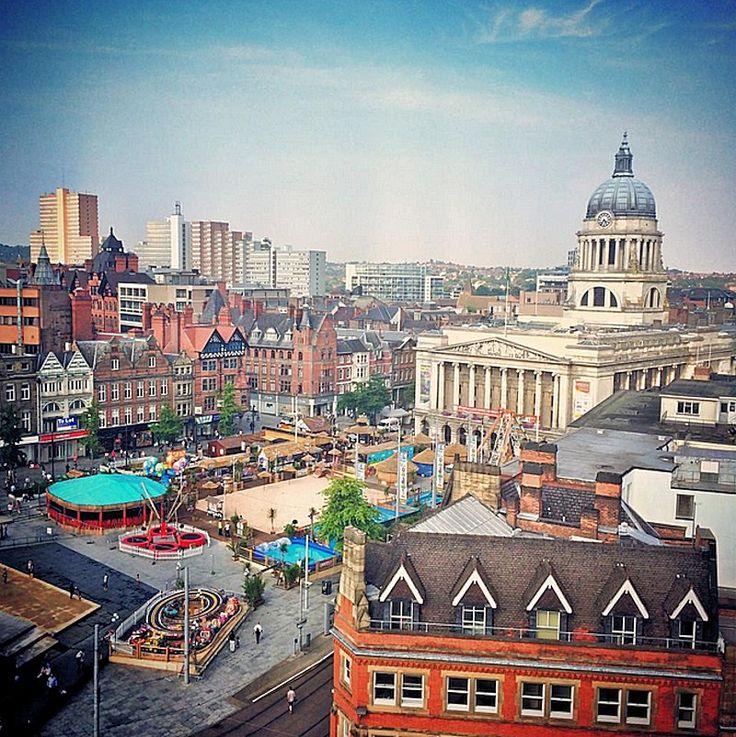 Nottingham's Old Market Square set up for Riviera 2014.