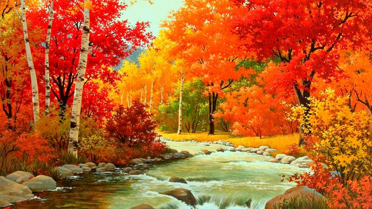 HD Wallpaper Autumn River Flows Slowly for 1920 x 1080