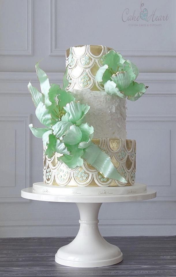 exquisite pearlized mint green gold and white floral art wedding cake, elegant art wedding cake, winter wedding