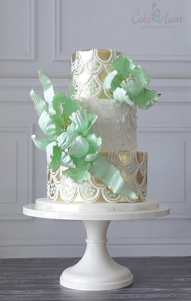 exquisite pearlized mint green gold and white floral art wedding cake, elegant art wedding cake, winter wedding