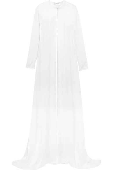 Temperley London - Bellflower Crystal-embellished Silk-chiffon Cape - White - UK16