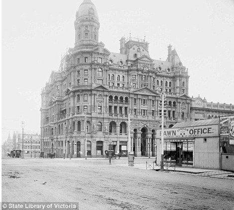 Built in 1888, the Federal Coffee Palace stood at the corner of Collins and King Streets - once the largest hotel in Australia. It went broke, along with many other Melbourne businesses and re-opened in 1923 with an alcohol licence, as the Federal Hotel.  It contained over 400 bedrooms, billiards rooms and dining room, with a sign over the entrance which read 'Stay here. You'll be welcome'. Sadly, it was demolished in 1973 for office accommodation