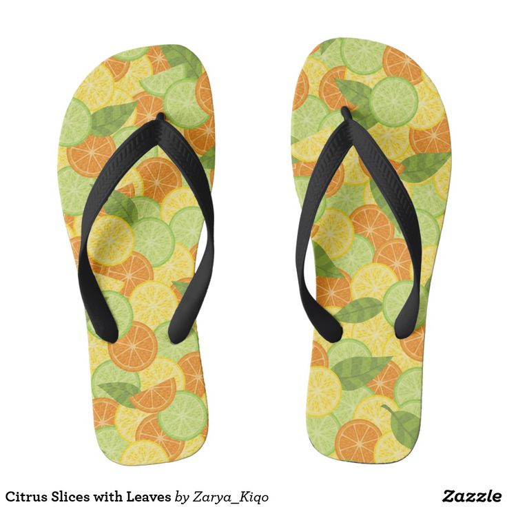 Citrus Slices with Leaves - a citrus inspired pattern in flip flops