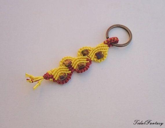 #Yellow  #bronze #keyring #bohemian #keychain keyholder by TidalFantasy