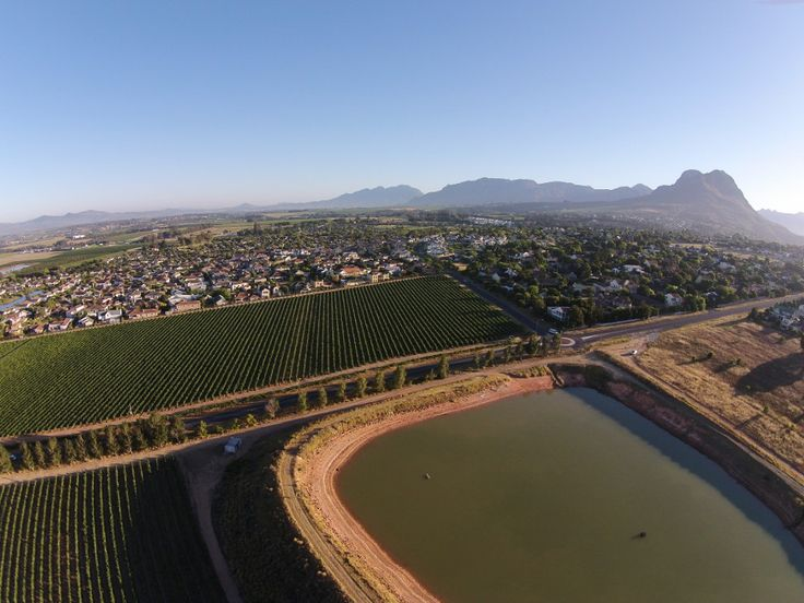 Cape Winelands, Heldervue suburb and the Helderberg mountain on the horison - Somerset West, South Africa