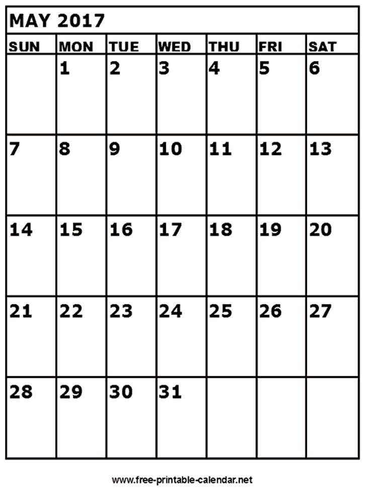 calendar may 2017