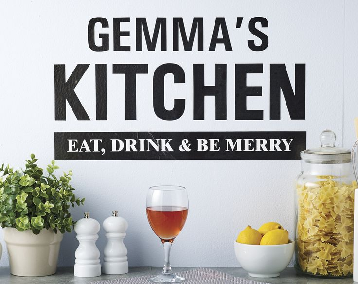 Personalised Kitchen Wall Art £25  Full colour adhesive wall vinyl's are quick and easy to apply. They come with fitting instructions. Stick it to a clean, dry and smooth surface. Single use only. Made from a high quality wall art vinyl  KLife Kleeneze