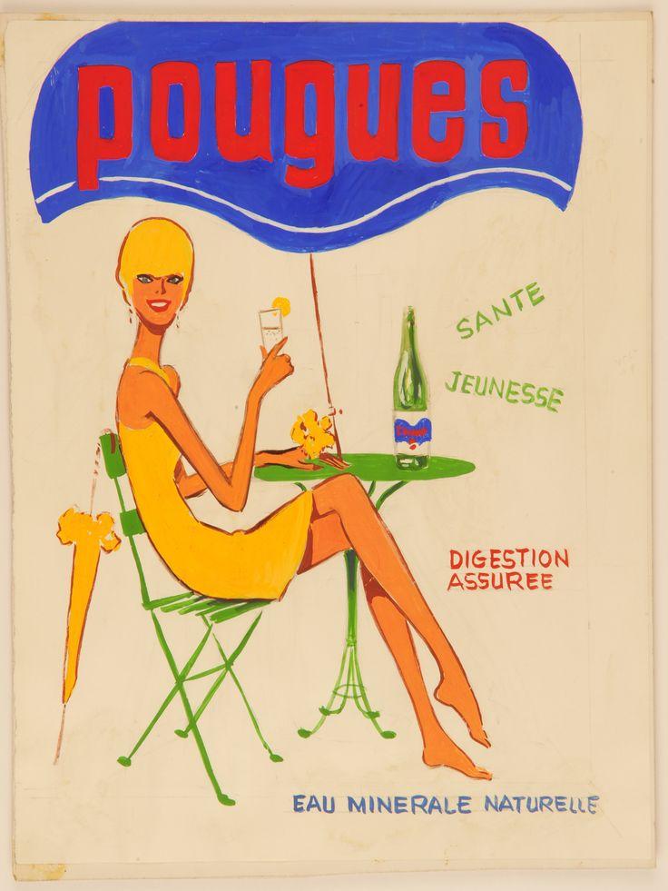 Maquette publicitaire pou l'eau minérale [ca 1960]. Fonds de la Compagnie des Eaux minérales de Pougues (32 J 465). (Archives départementales de la Nièvre)