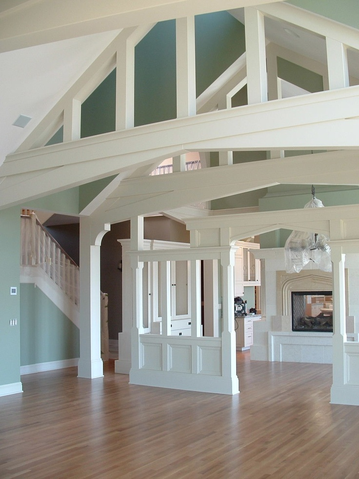 48 best faux beams planks images on pinterest faux for Vaulted ceiling with exposed trusses
