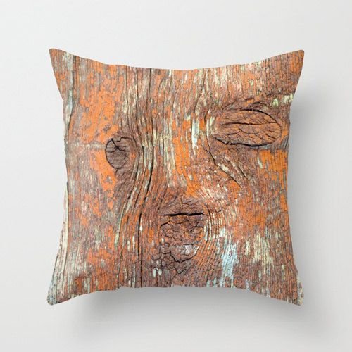 Reclaimed Barn Wood, Pillow Cover, 16x16, home decoration, rustic, vintage, monocromatic, Red