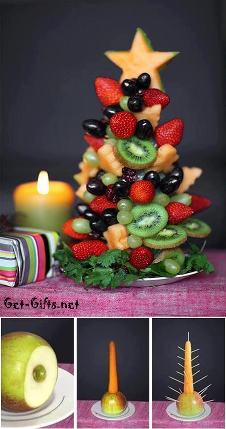 Christmas tree from fruits