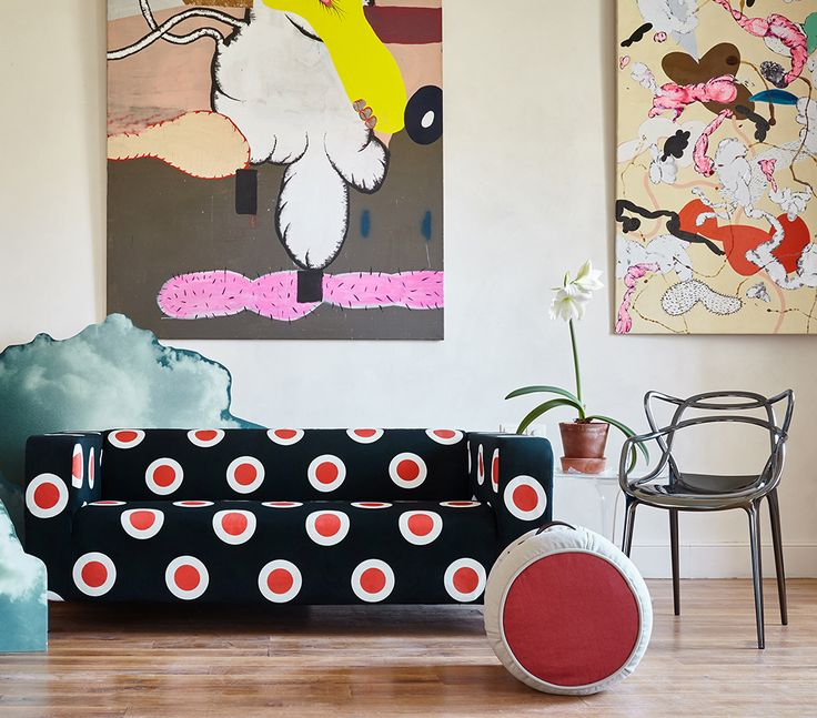 ARTEFLY Ikea Klippan cover OOOPS - interior styling / giant dots, pop art room interior #artefly #klippan #sofa #cover #slipcover #ikea #cotton #throw #couch #2seater #seater #design #homedecor #interior #pattern #pillow #cushion