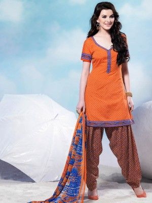 Orange Cotton Pretty Patiala Salwar Kameez                         parisworld.in
