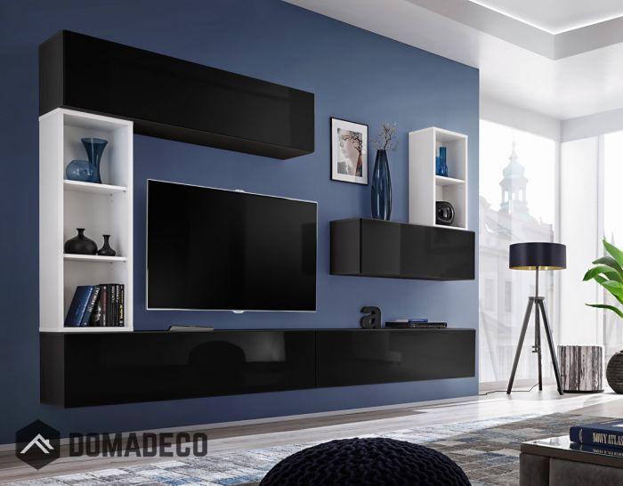Boise I Black White Tv Wall Unit Living Room Wall Units Modern Tv Wall Units Tv Wall Unit