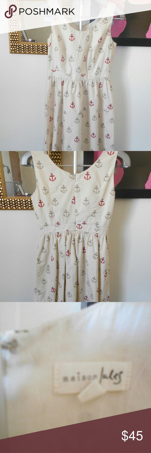 Flash Sale Maison Jules Anchor Pattern Dress Beige anchor pattern dress. Perfect for the beach with sandals and a straw hat. B: 30 W:26 L:36 Maison Jules Dresses