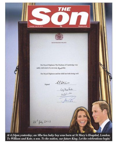 How British newspaper front pages covered the royal baby · TheJournal.ie  The SUN newspaper changed their name !!!! 23/7/2013