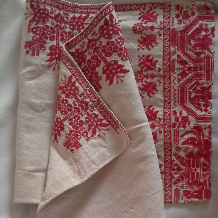 Beautiful antique embrodiered traditional pillow case from Transylvania In excellent condition Slightly faded looking red on a natural ecru linen 105