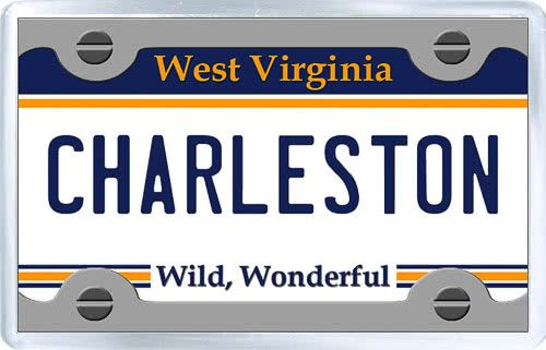 $3.29 - Acrylic Fridge Magnet: United States. License Plate of Charleston West Virginia
