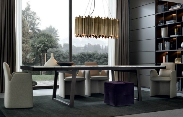 Delightfull | Dining room sets: dining room chairs with wood dining room table and dining room lamps suspended. Beautiful dining room ideas | See more at diningroomideas.eu