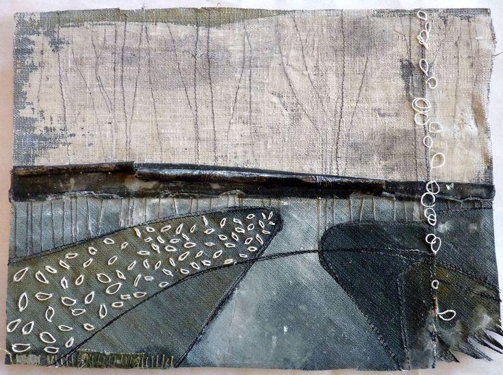 Debbie Lyddon, Large Marshscape – Frayed Edge, Cloth, Stitch, Wax, approx. 28x20cms