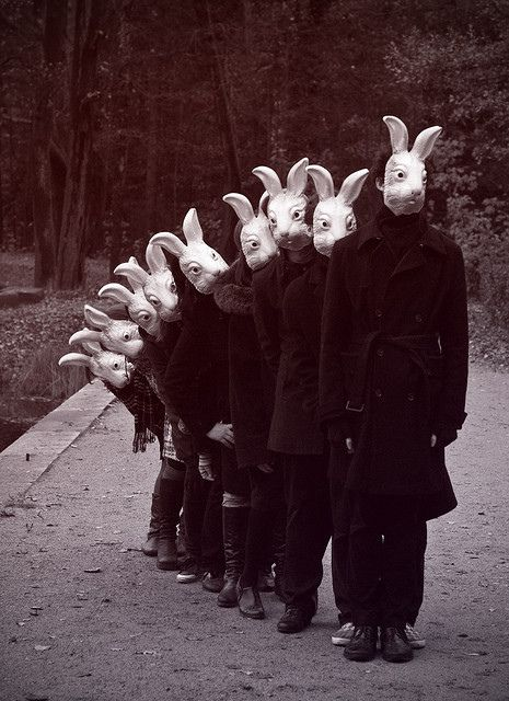 This is different but i like it. They are people dressed as rabbits in a line. They are not stood in a straight line though, they are stood in a more curved line because each person will curve themselves out more and more each time.